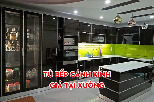 Tủ bếp cánh kính cao cấp