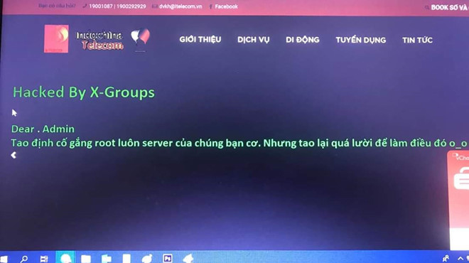 Vừa ra mắt VN, website nhà mạng Indochina Telecom đã bị hack