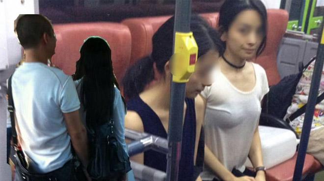 """Bắt quả tang nam thanh niên """"tự sướng"""" gần 2 thiếu nữ trên xe buýt"""