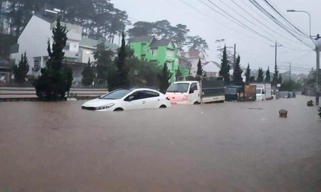 Đà Lạt ngập nước, hàng chục ôtô chết máy giữa đường