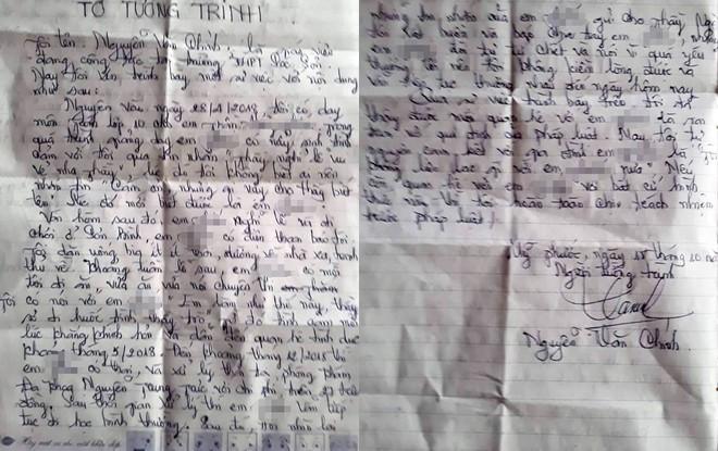 Thầy giáo bị tố làm nữ sinh có thai viết tường trình