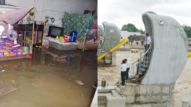 Vận hành thử cống chống ngập, 100 nhà dân bị ngập nặng