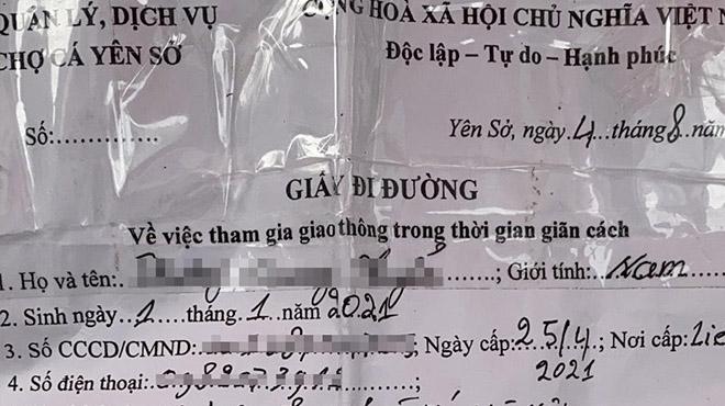 Hà Nội: Cấp giấy đi đường cho người bán cá